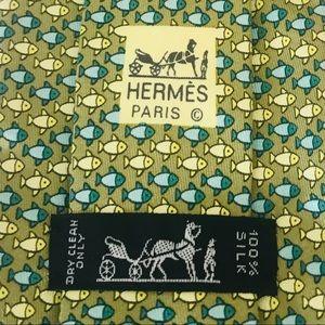 Hermès Silk Tie: Blue & White Fish Print Pattern